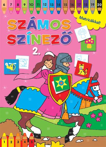 Könyv-Számos színező matricákkal 2. rózsaszín