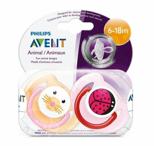 Philips Avent Játszócumi #6-18hó #2db #állatfigurás lányos