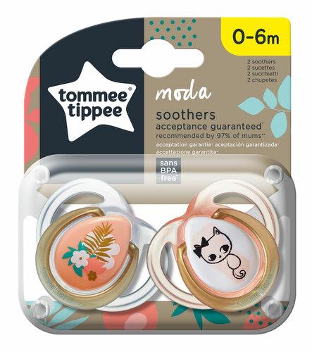Tommee Tippee Moda játszócumi #2db #0-6hó #lazac cica-virág #433487