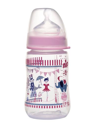Nip PP Cumisüveg széles szájú tejes cumival #260ml #rózsaszín-cirkusz #35042-350427