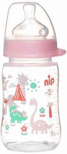 Nip PP Cumisüveg széles szájú tejes cumival #260ml #vrózsaszín-dínós #35042-350427