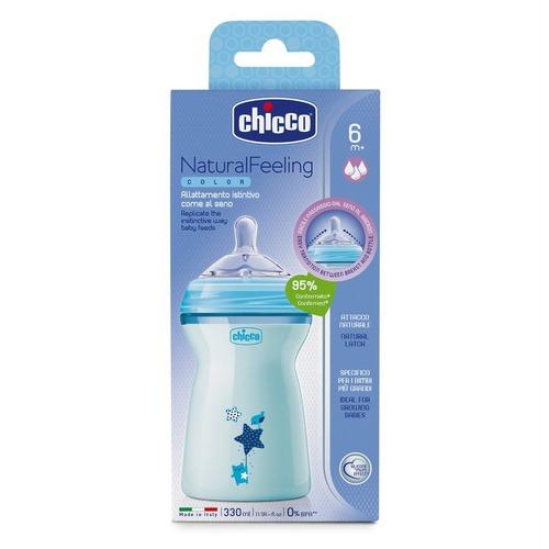 Chicco Cumisüveg gyors folyású NaturalFeeling 6h 330ml kék #CH08083721