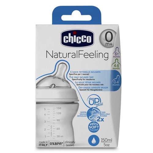 Chicco Cumisüveg normál folyású NaturalFeeling 0h 150ml #CH08071100004