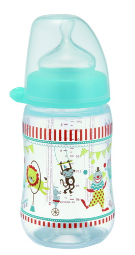 Nip PP Cumisüveg széles szájú tejes cumival #260ml #kék-fiús #35041-350410