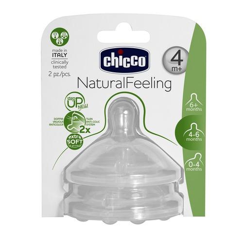 Chicco Natural Feeling Etetőcumi szilikon változó folyású 2db 4h #CH0810352