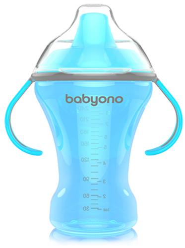 Babyono Itatópohár Natural Nursing csöpögésmentes kemény csőrrel #6hó #260ml #kék #1457-406076