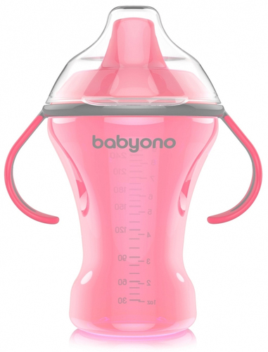 Babyono Itatópohár Natural Nursing csöpögésmentes kemény csőrrel #6hó #260ml #pink #1457-406076