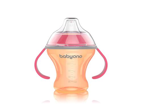 Babyono Itatópohár Natural Nursing csöpögésmentes puha csőrrel #3hó #180ml #narancs pink fül #1456-406069