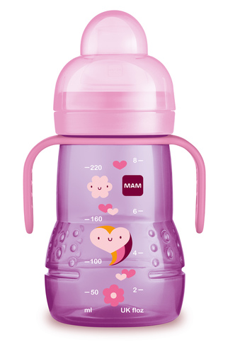 Mam Trainer tanulópohár és puha itatócsőr #rózsaszín szív-virág 220ml #320842 2021