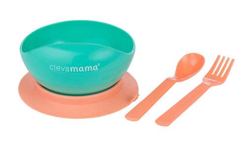 Clevamama Tapadó aljú tányér kanállal, villával #3007