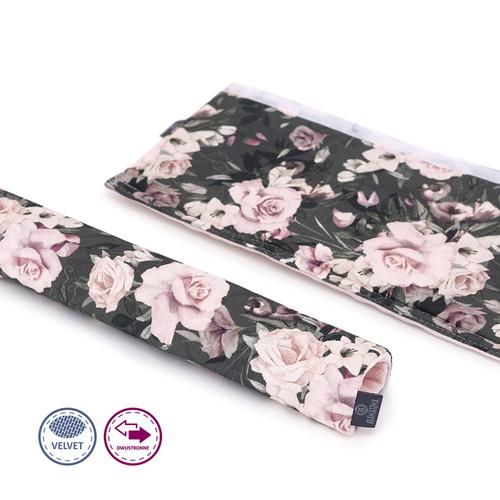 Vmatex Karfavédő babakocsira Makaszka velvet - Midnight roses #409606