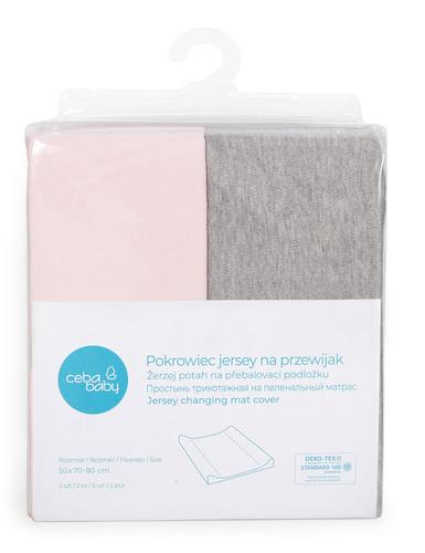 Ceba pamut pelenkázólap huzat #50x70-80 cm #2db #világos szürke melanzs-pink