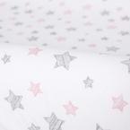 Ceba pamut pelenkázólap huzat #50x70-80 cm #2db #Sötét szürke-Pink csillagos
