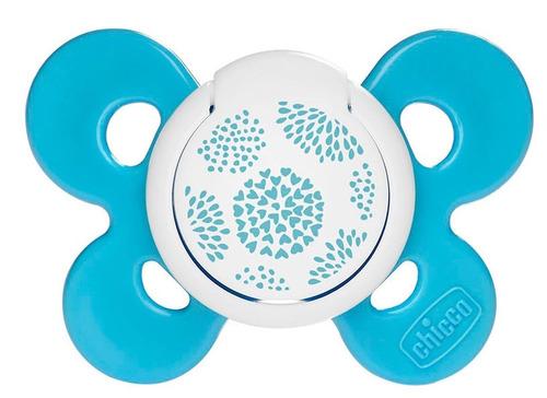 Chicco Physio Comfort szilikon játszócumi #6-16m #kék virágos #CH07491321-059058