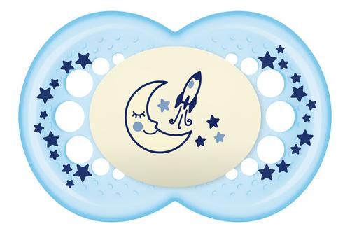 Mam Original Night játszócumi #6hó+ #2db #Hold-rakéta kék #801730