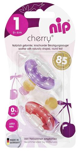 Nip Cherry Játszócumi #latex #0-6hó #2db #cseresznye #lila-piros #91002-910027