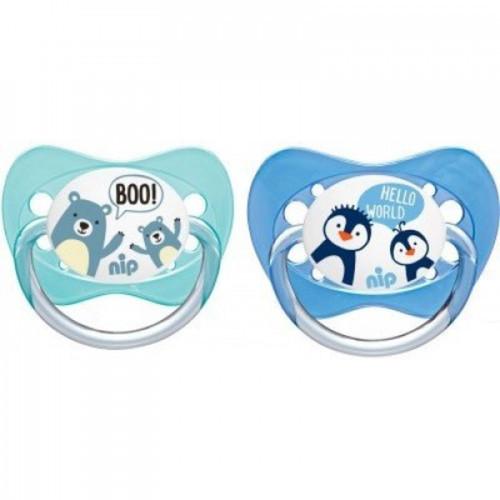 Nip Family Játszócumi szilikon 0-6hó 2db Maci-Pingvin #31003-310032