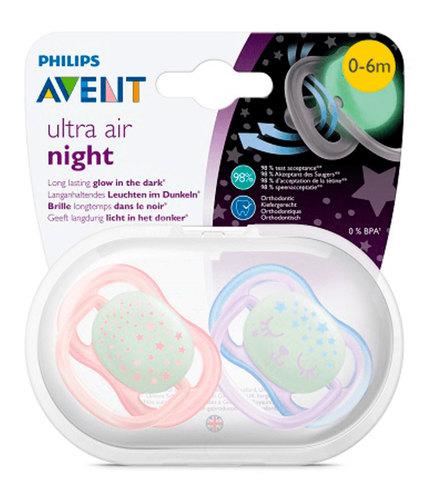 Philips Avent játszócumi ultra air éjszakai #2db-os #0-6hó #lány