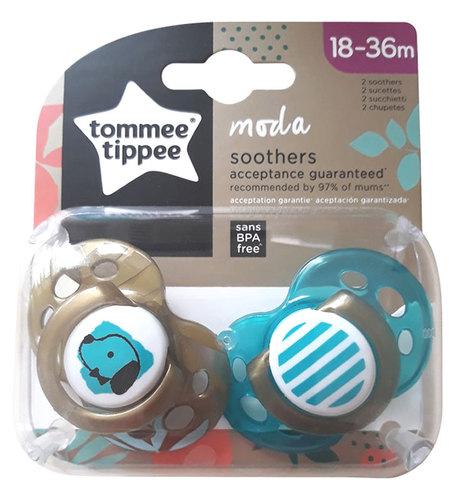 Tommee Tippee Moda játszócumi #2db #18-36hó #fiús zöld-barna kutyás-csíkos #43343841-334381
