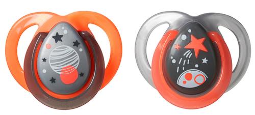 Tommee Tippee Night játszócumi #0-6hó #2db #Űr narancs-szürke #43336185-333612