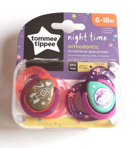 Tommee Tippee Night játszócumi #6-18hó #2db #NeonSpace narancs-lila #43336285-333629 2019