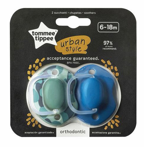 Tommee Tippee Urban Style játszócumi #6-18hó #2db #kék-zöld #43342065