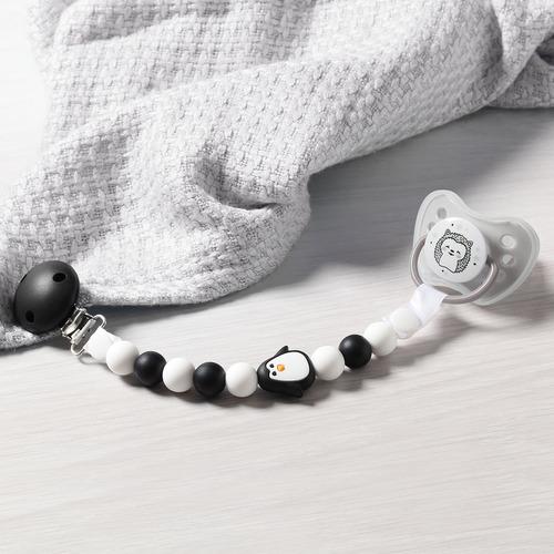Babyono cumitartó szilikon gyöngysor fekete-fehér pingvin #719-05