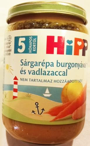 Hipp Bébiétel Sárgarépa burgonyával vadlazaccal #190g #5h #6105