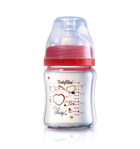 Babyono Hőálló üveg cumisüveg széles nyakú 120ml #piros #1341-402313