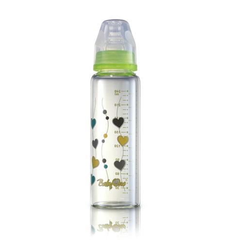 Babyono Hőálló üveg cumisüveg standard méretű 240ml #zöld #1340-402306