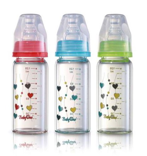 Babyono Hőálló üveg cumisüveg standard méretű 120ml #piros #1339-402290