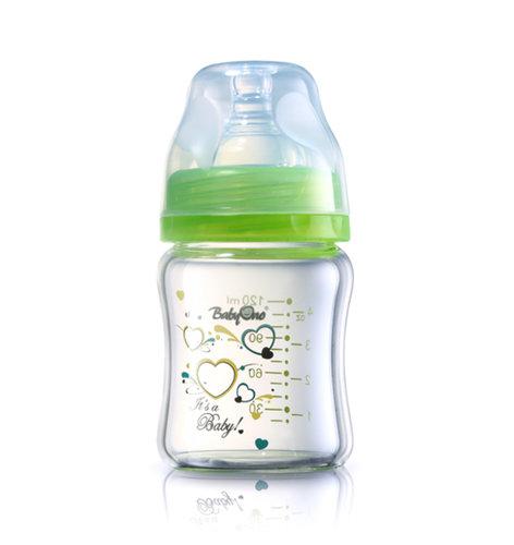 Babyono Hőálló üveg cumisüveg széles nyakú 120ml #zöld #1341-402313