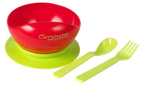 Clevamama Tapadó aljú tányér kanállal, villával