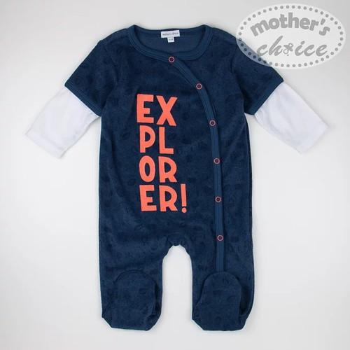 Mothers Choice Rugi frottír skék mintás fehér ujjal EXPLORER! 6-12 hó #IT8843-565414