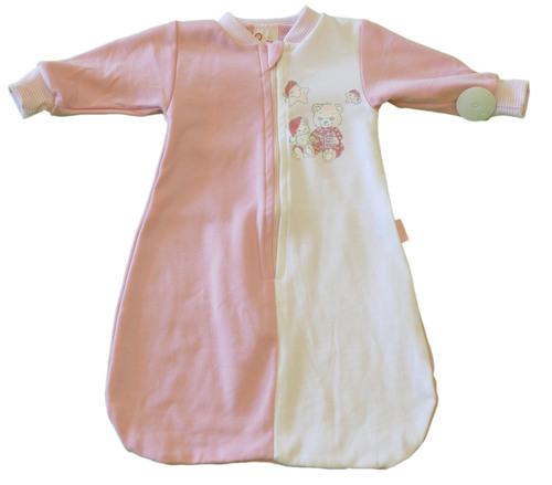 Leopoldi Hálózsák #pamut #hosszú ujjú #50-56 #fehér-rózsaszín álmos macik #110238