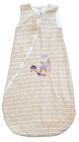 Wikids Hálózsák plüss hímzett bélelt #80-86 #melír mogyoró csíkos
