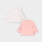 Mayoral Póló #2db #fehér rózsaszín nyulas #12 hó #80cm #2033 2020