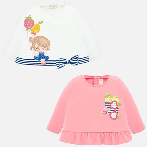Mayoral Póló #2db #rózsaszín fodros mintás-fehér lufis lányka 0-1 hó 55cm #1035 2020