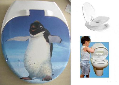 Kombinált felnőtt-gyerek wc ülőke lecsapódás gátlóval pingvines #4003P