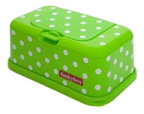 Funkybox törlőkendő tároló doboz #lime zöld fehér pöttyös #FB11
