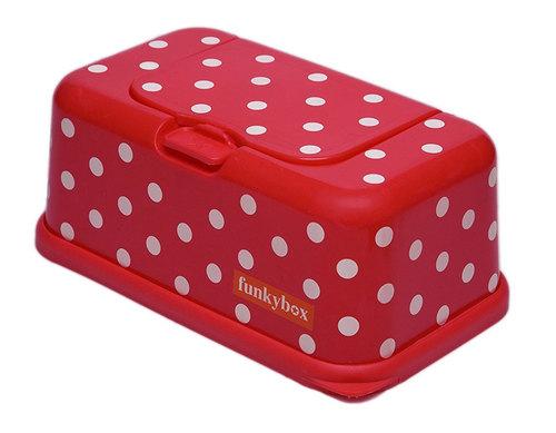Funkybox törlőkendő tároló doboz #piros fehér pöttyös #FB05