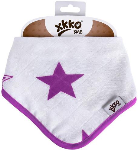 Xkko Bambusz Nyálkendő patentos #Csillagok Lila #BMBBND035