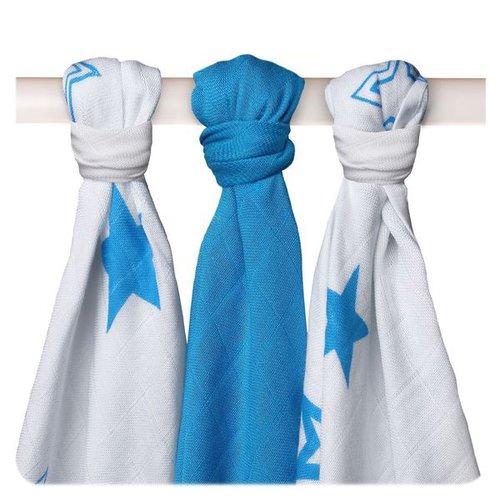 Xkko Bambusz Textilpelenka 70x70 #Csillagok Kék MIX 3db #BMB070021