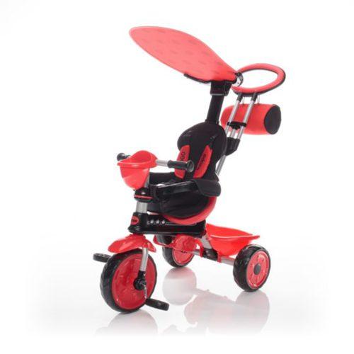 Zopa tricikli ZooGo tolókarral Ladybug piros/fekete