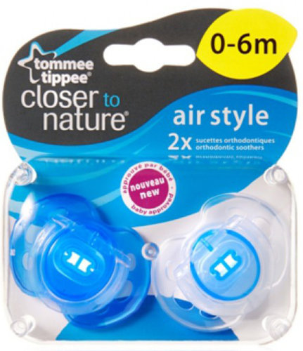 Tommee Tippee Air játszócumi 0-6 hó 2db #kék